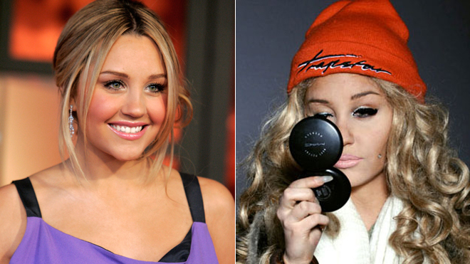 A composite image of two pictures of Amanda Bynes then and now.